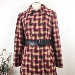 Vintage Jackets & Coats - Vintage 60s 100% Wool Plaid Belted Trench Coat
